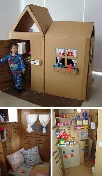 spielhaus aus grossen kartons   kids