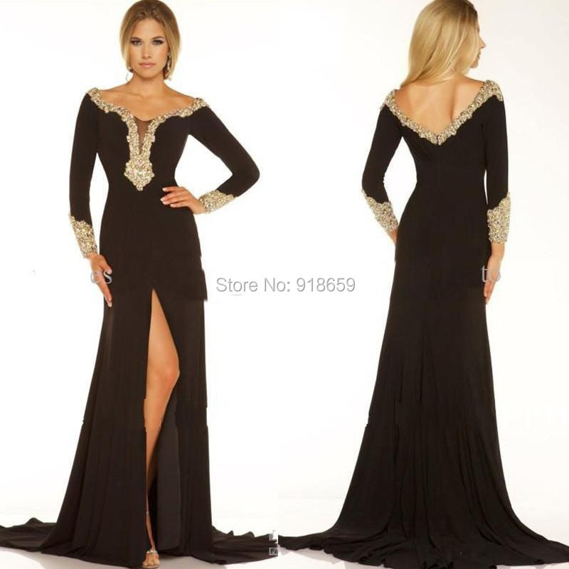 Designer long black evening dresses