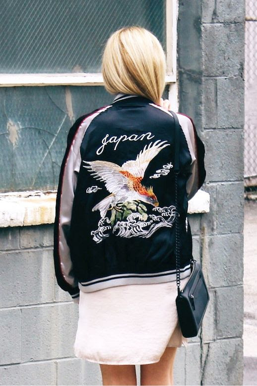 Le Fashion Blog Blogger Style Spring Trends Combo Embroidered Japan Bomber Jacket Nude Slip Dress Chain Strap Bag Via Against The Grain