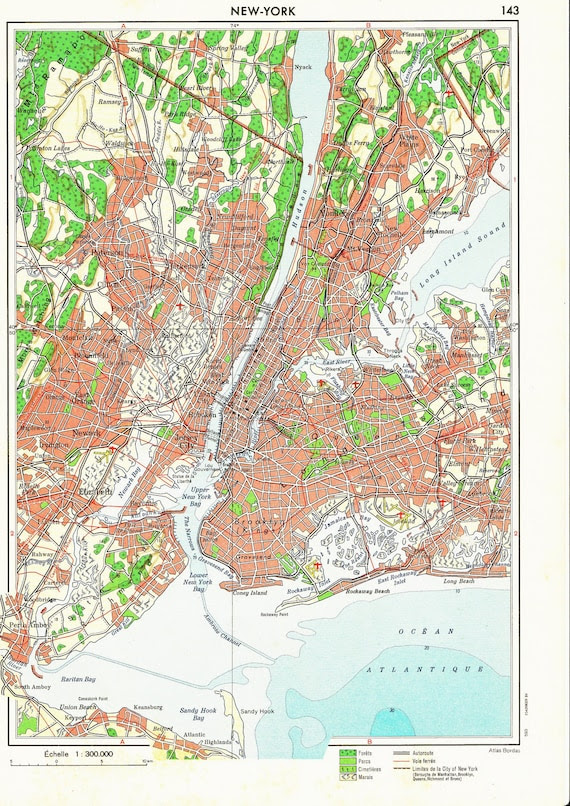 Vintage Street Map New York City 1950s