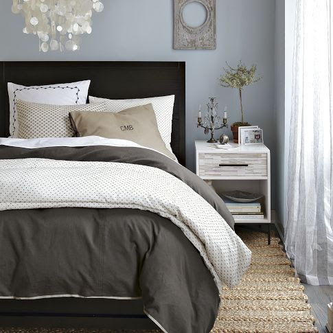 bedding + idea for side tables (high gloss white, weathered grey drawers, dark handles)