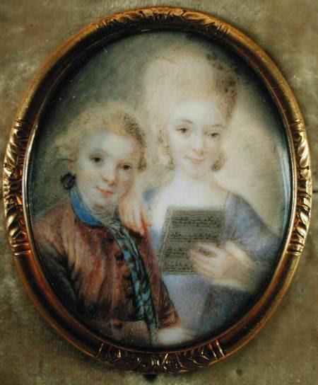 Miniature portrait of the Mozart siblings by Eusebius Johann Alphen, 1765