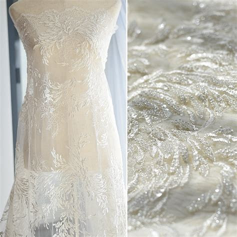2017 New ivory beaded lace fabric tulle mesh embroidered