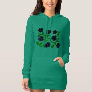 Petunias on Women's American Apparel Hoodie Dress