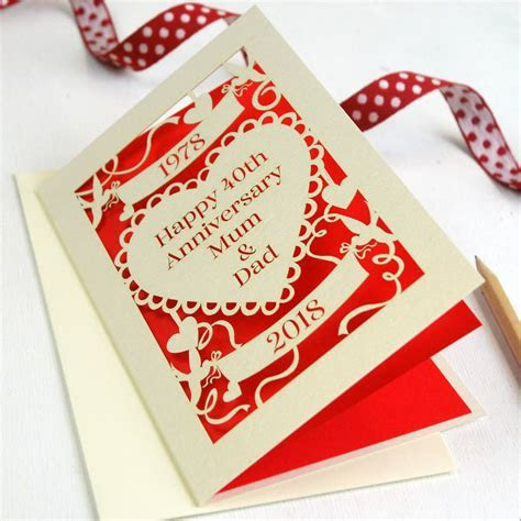 personalised papercut ruby wedding anniversary card by