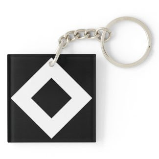Black and White Diamond Pattern Keychain