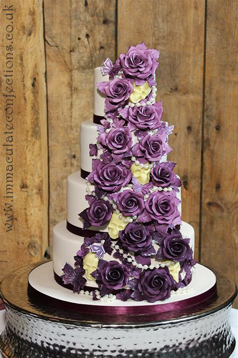 Plum Roses and Chocolate Skulls Wedding Cake   Cakes by