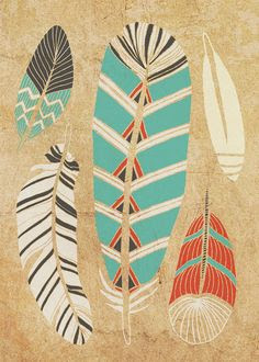 Tribal Feather Art Print 5 x 7 by courtneyoquist on Etsy, $9.00