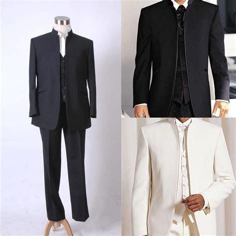 Men Mandarin Suit Wedding Band Collar Tuxedo No Button