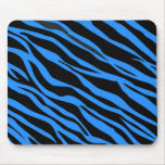 Cobalt Blue Zebra Striped Mouse Pad