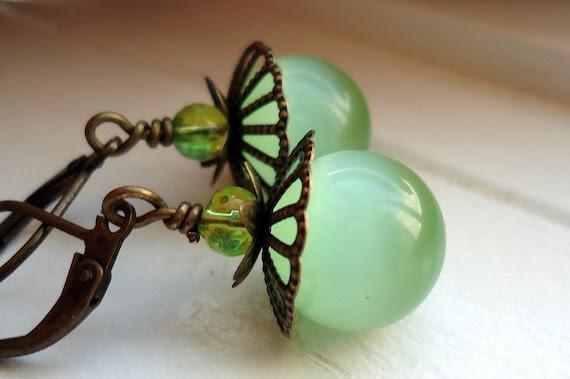 Green Earrings Cats Eye