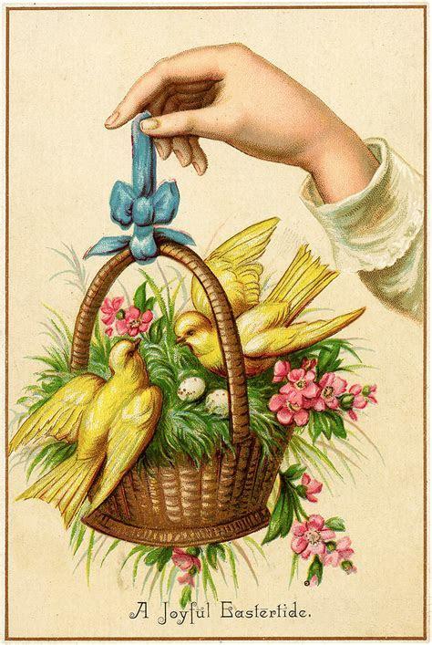 Nostalgic Hand Holding Basket with Birds Easter Greeting