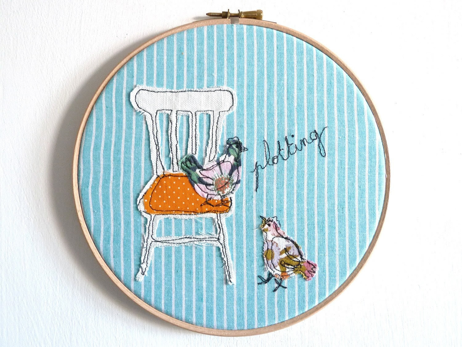 "Embroidery Hoop Art -'Plotting chickens' Whimsical Textile Illustration in turquoise & orange - 8"" hoop"