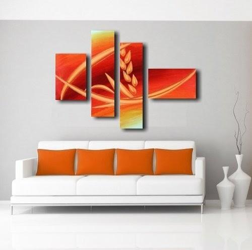 Quadri moderni olio su tela dipinti a mano arancione for Quadri arredamento casa