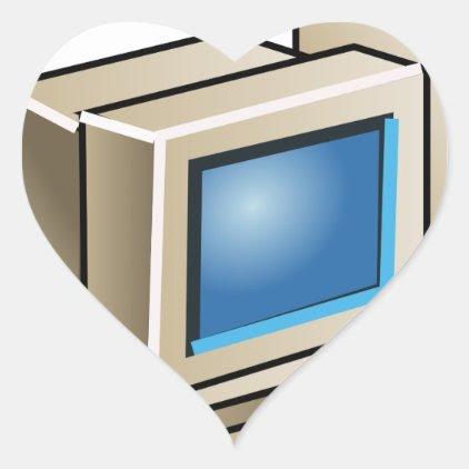 Retro Computer Heart Sticker