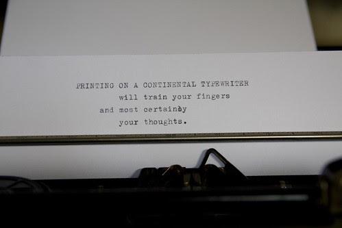 Continental typewriter writing sample