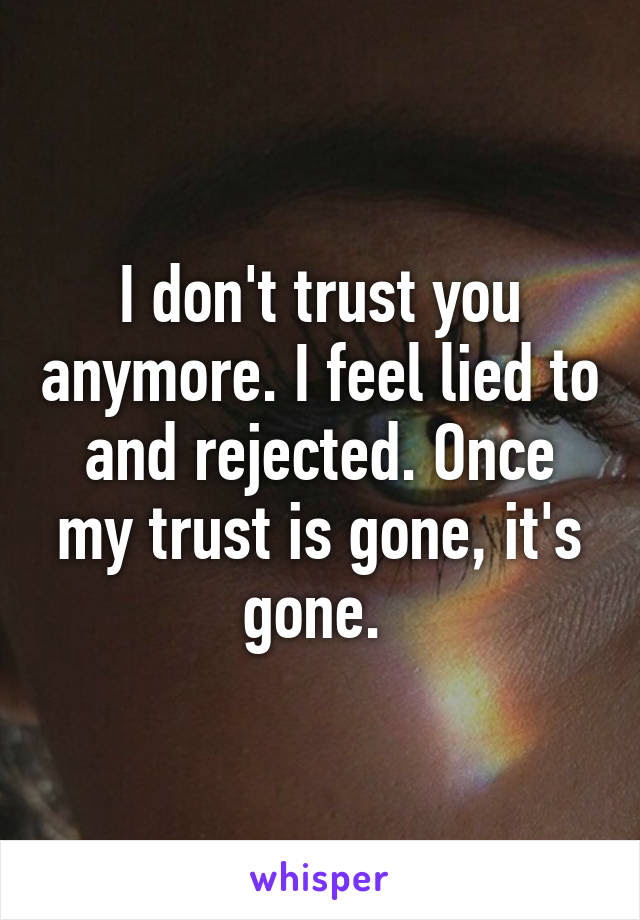I Dont Trust You Anymore I Feel Lied To And Rejected Once My Trust Is