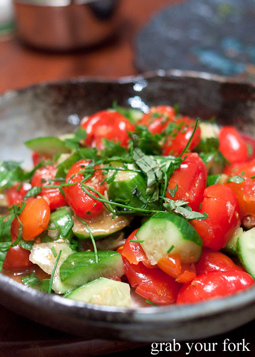 smashed tomatoes and cucumber salad
