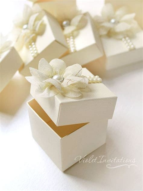 Floral ivory favor boxes, handmade wedding bombonieres