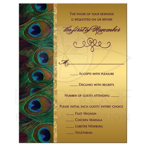 Wedding RSVP Card   Peacock Feathers   Gold