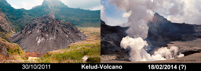 Before and after images of the dome area within the Kelud crater, showing how the 2007 dome was destroyed by the February XX explosive eruption. Image: Suwarno, via O S, used by permission.