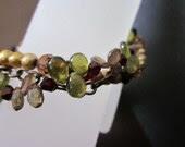 Artemis-Saki Shibuichi Toggle, Vessonite, Andalusite, Freshwater Pearls, Swarovski Crystals, Antiqued Brass Bracelet