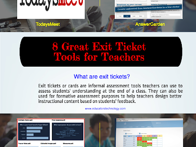 An Interesting Infographic Featuring 8 Good Exit Ticket Tools for Teachers