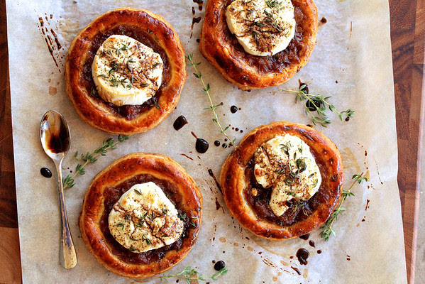 Caramelized Onion, Goat Cheese, and Balsamic Tartlets