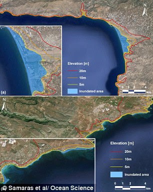 The researchers used land elevation to model how far the sea would inundate the coastline lines of Sicily (pictured top) and Crete (pictured bottom)