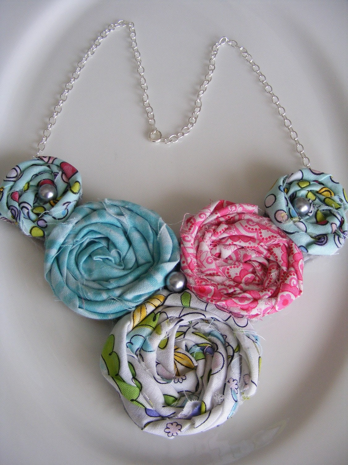 Pink & Turqoise Rosette Necklace
