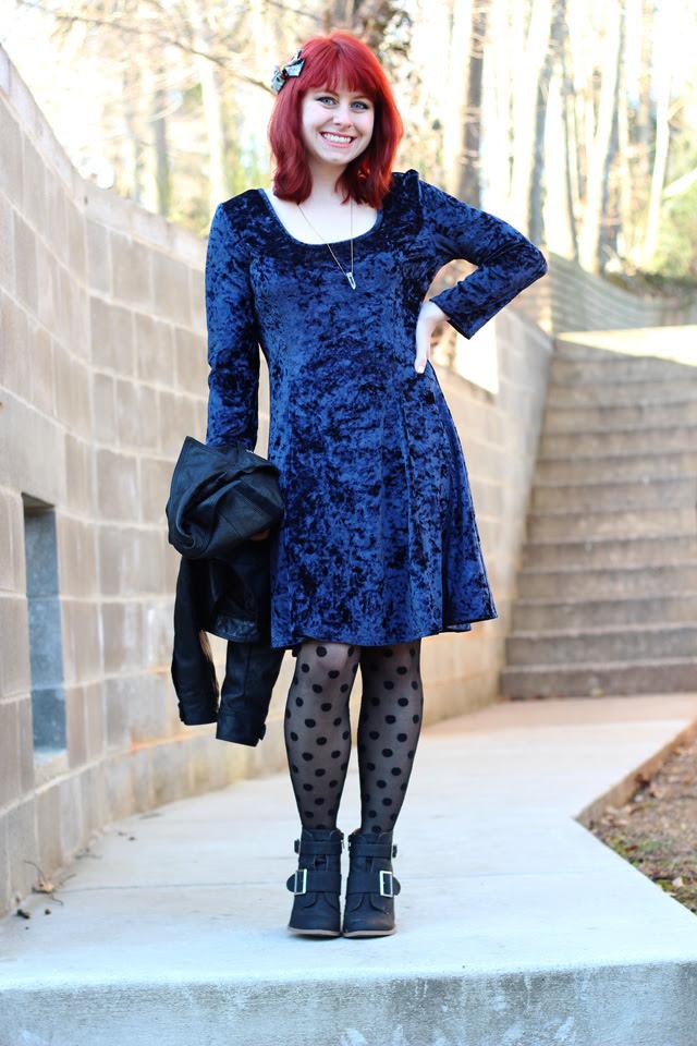 Blue Crushed Velvet Dress, Polka Dot Tights, & Ankle Boots