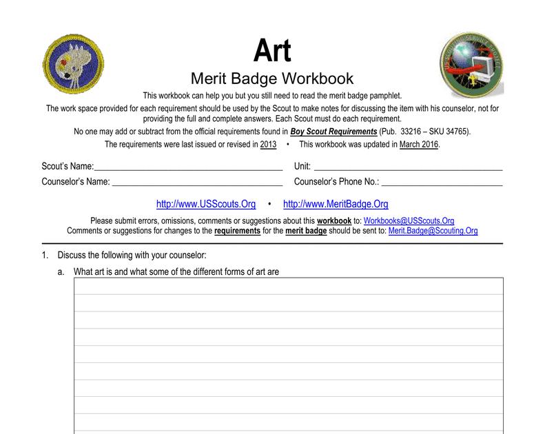 Art Merit Badge Worksheet 2019   A Worksheet Blog