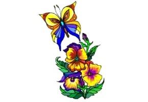 Blumen & Schmetterlinge Ausmalen