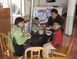 Eating around a stove