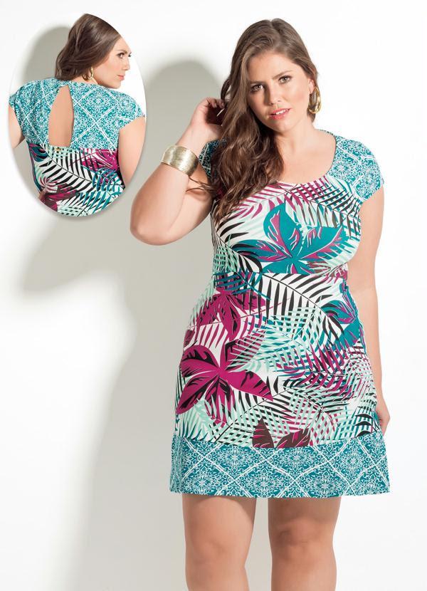 Vestido Quintess (Mix de Folhagens) Plus Size