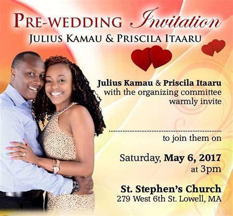 Pre Wedding Party Invitation: Julius Kamau & Priscilla
