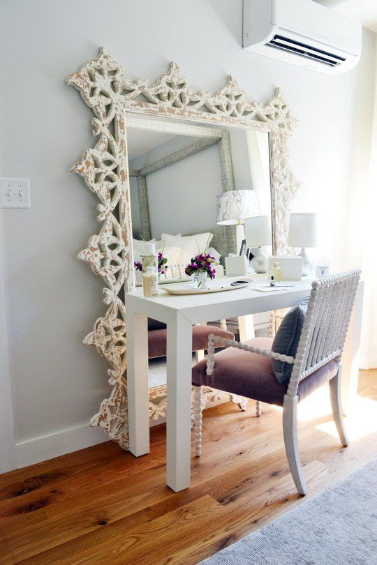 Turn a floor mirror and a desk into a vanity // 7 Ideas to Steal from the Boston Magazine Design Home