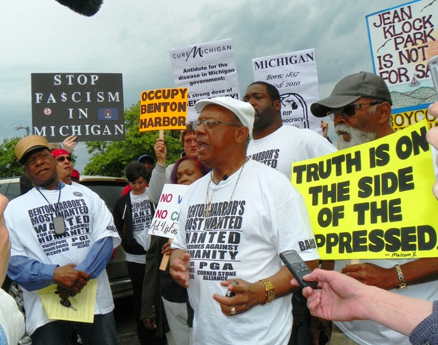 Rev. Pinkney addresses rally in Benton Harbor against Whirlpool, Emergency Manager law May 26, 2012.