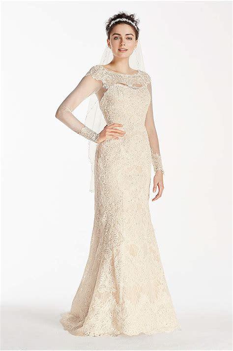 Oleg Cassini Open Back Long Sleeved Wedding Dress   Davids