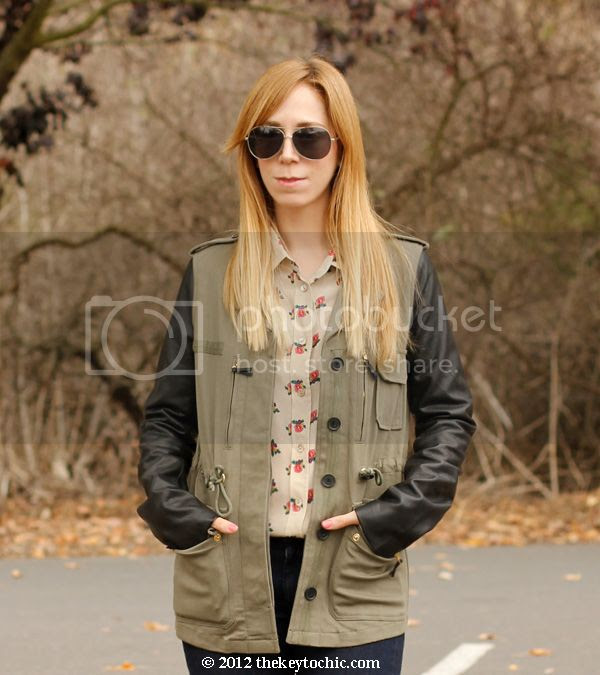 Equipment floral blouse, Lush leather sleeve military jacket, mixed media field jacket, Los Angeles fashion blog
