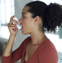 Photo: Young woman using inhaler