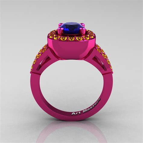 Classic French 14K Fuchsia Pink Gold 1.0 Ct Blue and
