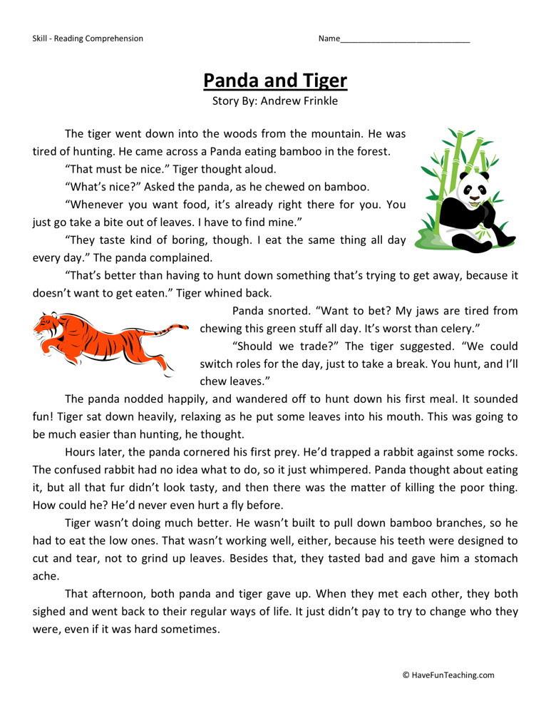 Reading Prehension Worksheet Panda And Tiger