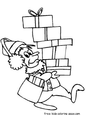 printable coloring page of christmas elf gifts for