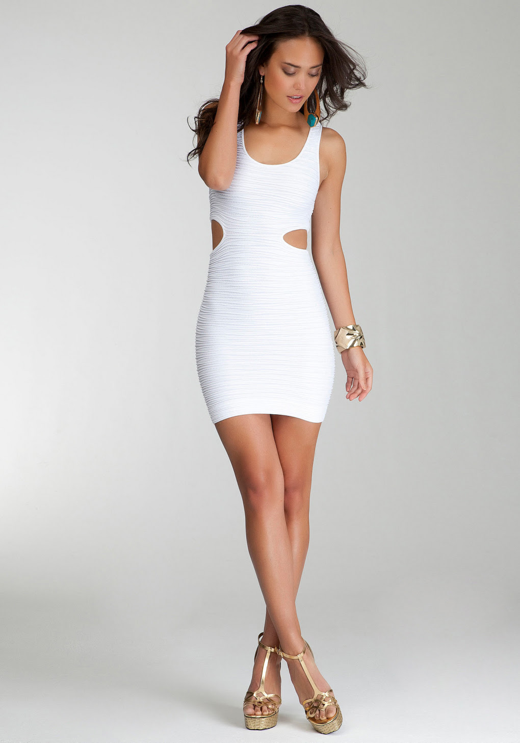 Cutout dress sides white bodycon with near