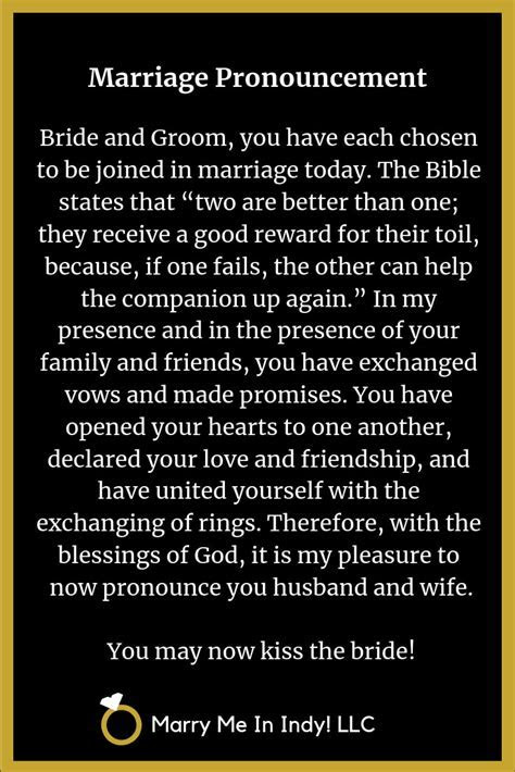 Marriage Pronouncement Scripts with PDF's   WEDDING