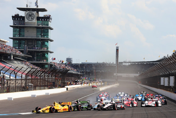 Ryan Hunter-Reay drives the #28 Andretti Autosport Dallara Honda ahead of the field after a restart during the Grand Prix of Indianapolis at Indianapolis Motor Speedway on May 10, 2014 in Indianapolis, Indiana.