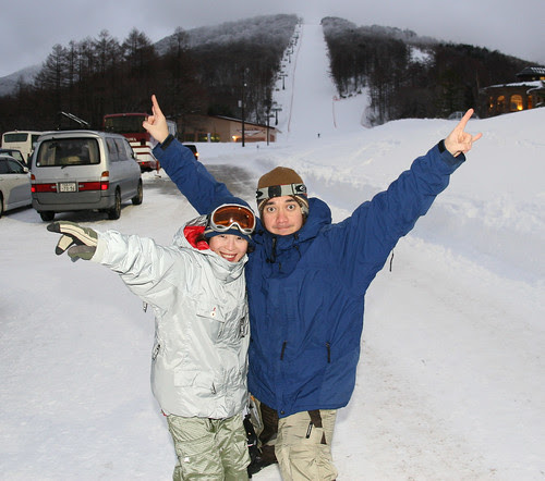 after snowboarding at Minowa