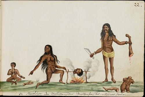 cannibal natives cooking human