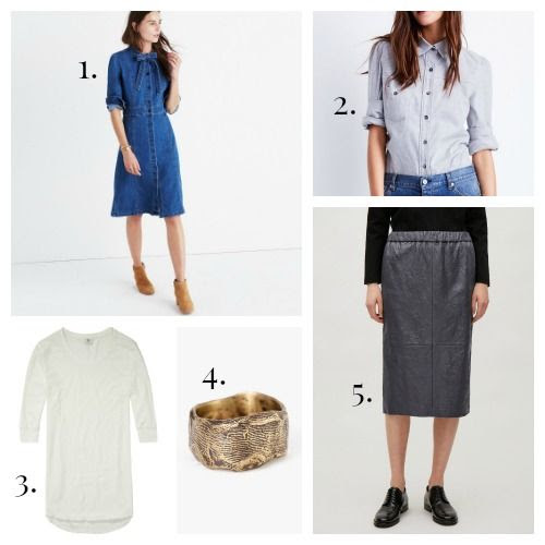 Madewell Dress - GOOP Label Shirt - Maison Scotch Tee - Lio and Linn Ring - COS Skirt